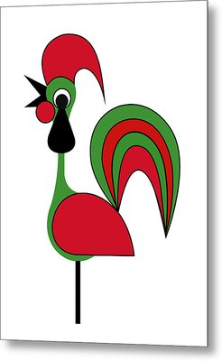 Rooster From Porto Metal Print by Asbjorn Lonvig