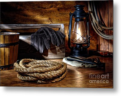 Rope In The Ranch Barn Metal Print by Olivier Le Queinec