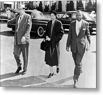 Rosa Parks Going To Jail Metal Print by Underwood Archives