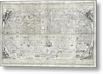 Rosaccio World Map Metal Print by Library Of Congress, Geography And Map Division