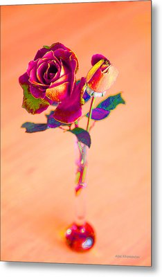 Rose For Love - Metaphysical Energy Art Print Metal Print by Alex Khomoutov