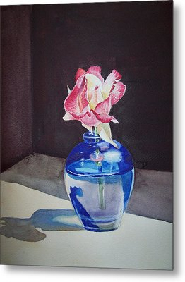 Rose In The Blue Vase II Metal Print by Irina Sztukowski
