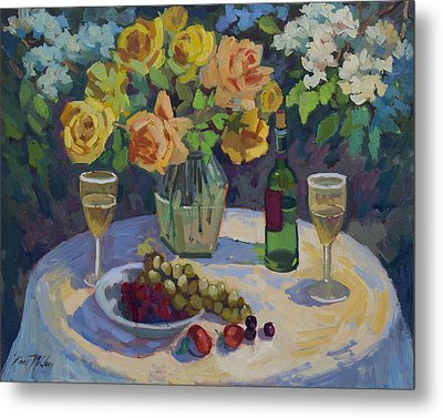 Roses And Chardonnay Metal Print by Diane McClary