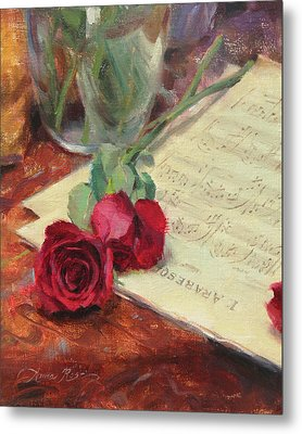 Roses And Debussy Metal Print by Anna Rose Bain