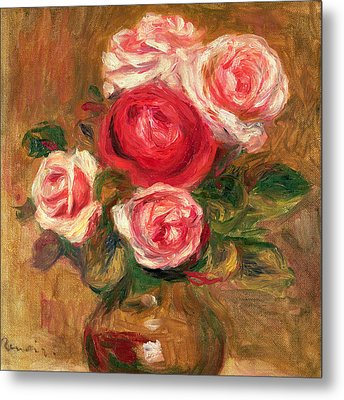 Roses In A Pot Metal Print by Pierre Auguste Renoir
