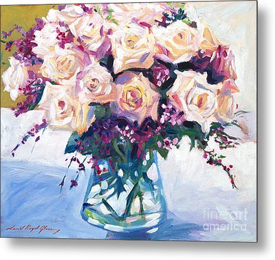 Roses In Glass Metal Print by David Lloyd Glover