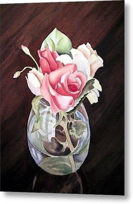 Roses In The Glass Vase Metal Print by Irina Sztukowski