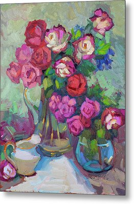 Roses In Two Vases Metal Print by Diane McClary