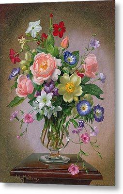 Roses Peonies And Freesias In A Glass Vase Metal Print by Albert Williams