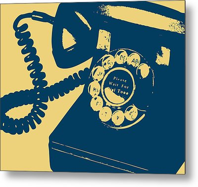 Rotary Telephone Metal Print by Flo Karp