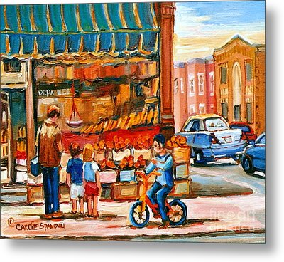 Roter's Fifties Fruit Store Vintage Montreal City Scene Paintings Metal Print by Carole Spandau
