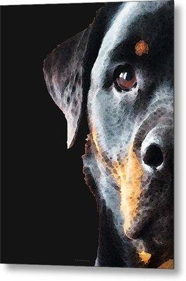 Rottie Love - Rottweiler Art By Sharon Cummings Metal Print by Sharon Cummings