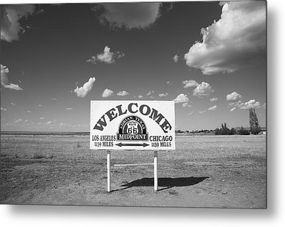 Route 66 - Midpoint Sign Metal Print by Frank Romeo