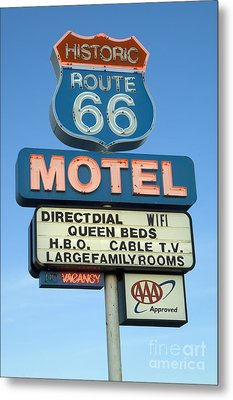 Route 66 Motel Sign 3 Metal Print by Bob Christopher