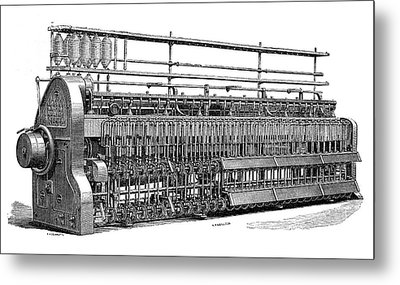 Roving Frame Cotton Spinner Metal Print by Science Photo Library