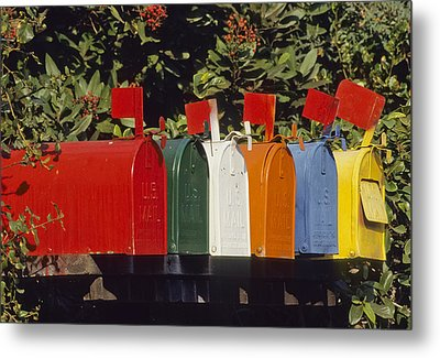 Row Of Colorful Mailboxes Metal Print by David Litschel