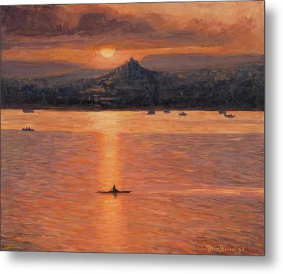 Rowing In The Sunset Metal Print by Marco Busoni