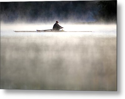 Rowing Metal Print by Mitch Cat
