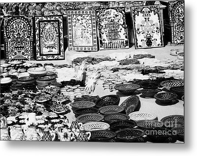 Rows Of Local Speciality Ceramics For Sale To Tourists On A Stall In The Souk Market In Nabeul Tunisia Metal Print by Joe Fox
