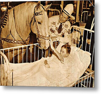 Roy Rogers And Trigger With A Polio Victim In Pittsburgh Metal Print by Unknown