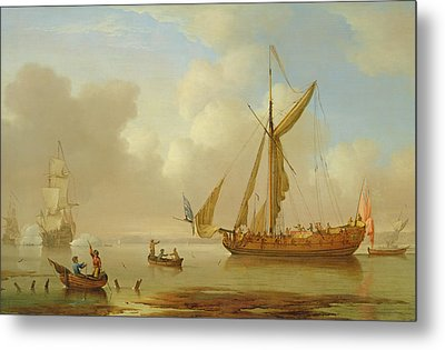 Royal Yacht Becalmed At Anchor Metal Print by  Peter Monamy