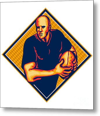 Rugby Player Running Ball Retro Metal Print by Aloysius Patrimonio