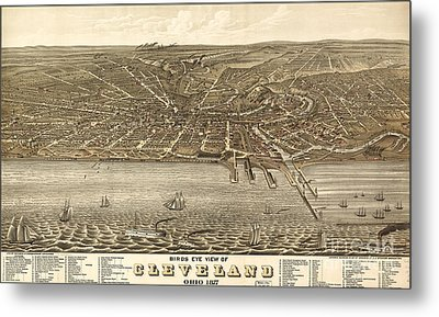 Rugers Birdseye View Of Cleveland 1877 Metal Print by Celestial Images