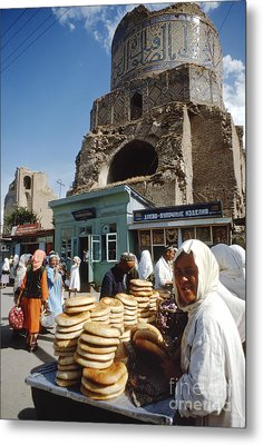 Ruins Of A Mosque With An Open Air Market Metal Print by The Harrington Collection