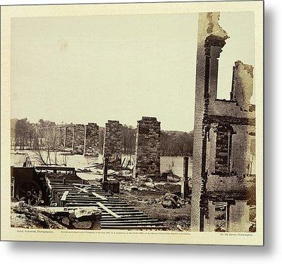 Ruins Of A Railroad Bridge Metal Print by British Library