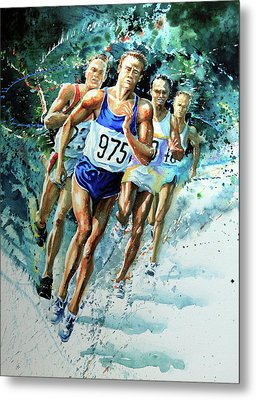 Run For Gold Metal Print by Hanne Lore Koehler