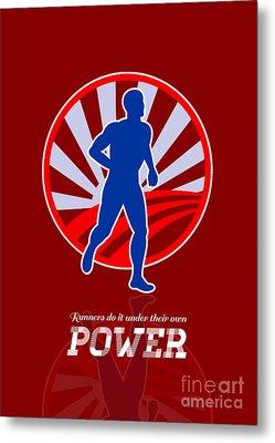 Runner Running Power Retro Poster Metal Print by Aloysius Patrimonio