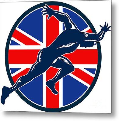 Runner Sprinter Start British Flag Circle Metal Print by Aloysius Patrimonio