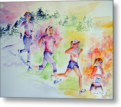 Running Toward The Marathon Metal Print by Sandy Ryan