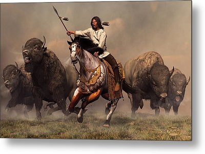 Running With Buffalo Metal Print by Daniel Eskridge