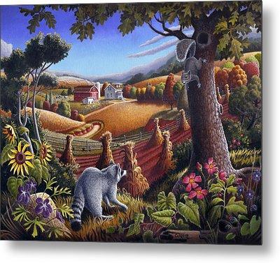 Rural Country Farm Life Landscape Folk Art Raccoon Squirrel Rustic Americana Scene  Metal Print by Walt Curlee