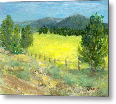 Rural Landscape Colorful Original Painting Ranch Fields Trees Metal Print by K Joann Russell