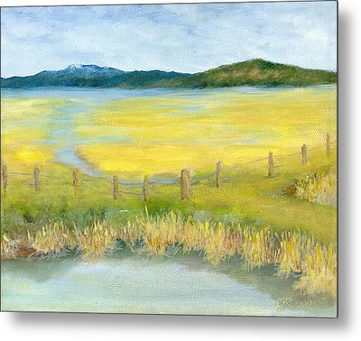 Rural Landscape Original Oil Painting Oregon Water Fields By K. Joann Russell Metal Print by K Joann Russell
