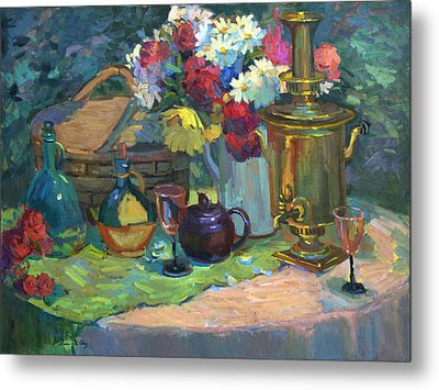 Russian Picnic Still Life Metal Print by Diane McClary