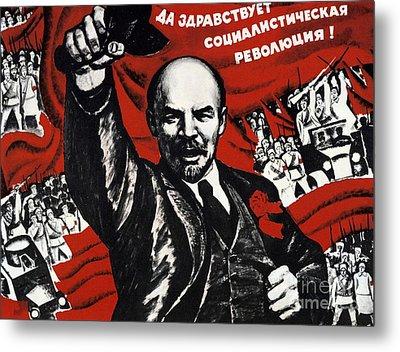 Russian Revolution October 1917 Vladimir Ilyich Lenin Ulyanov  1870 1924 Russian Revolutionary Metal Print by Anonymous