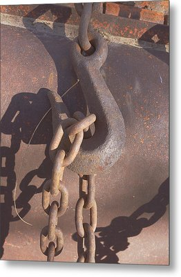 Rusted Hook And Chain Metal Print by Ann Powell