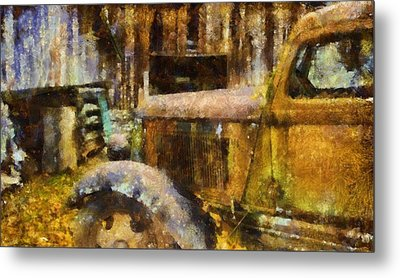 Rusted Truck In Autumn Metal Print by Dan Sproul