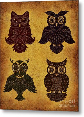 Rustic Aged 4 Owls Metal Print by Kyle Wood