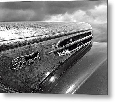 Rusty Ford Hood And Fender 1942 Black And White Metal Print by Gill Billington