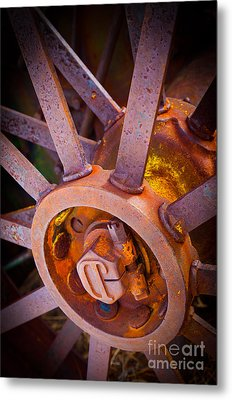 Rusty Spokes Metal Print by Inge Johnsson