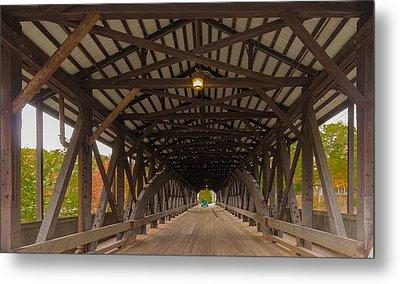 Saco River Bridge Metal Print by Karen Stephenson
