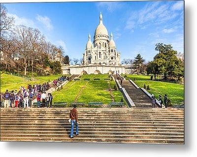 Sacre Coeur - Basilica Overlooking Paris Metal Print by Mark E Tisdale