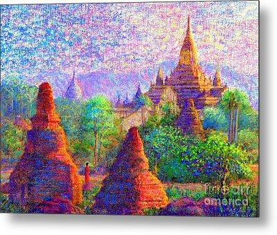 Bagan, Burma, Sacred Spires Metal Print by Jane Small