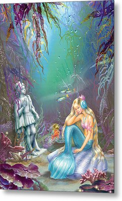 Sad Little Mermaid Metal Print by Zorina Baldescu