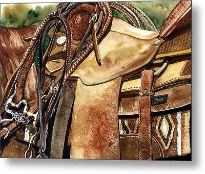 Saddle Texture Metal Print by Nadi Spencer