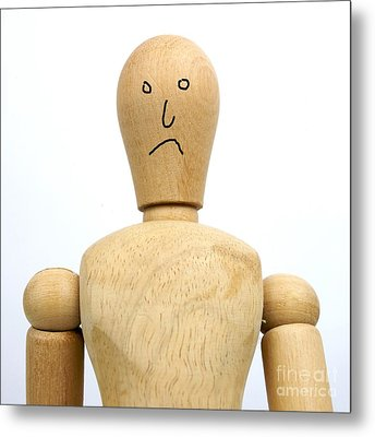 Sadness Wooden Figurine Metal Print by Bernard Jaubert
